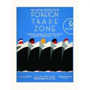 Vintage Poster New York Foreign Trade Zone -Bij de Tijd Bij de Tijd: vintage & designmeubelen