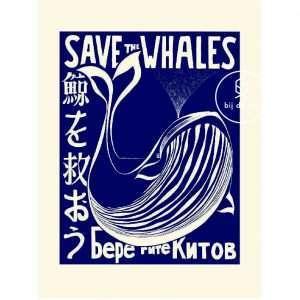 Vintage Poster Save the Whales Bij de Tijd: vintage & designmeubelen