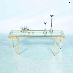 Vintage Pierre Vandel sidetable regency bijzettafel glas Bij de Tijd: vintage & designmeubelen