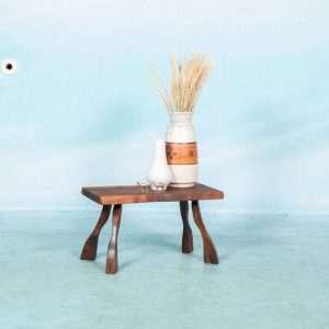 Vintage boomplak salontafel jaren 60, bijzettafel massief Bij de Tijd: vintage & designmeubelen