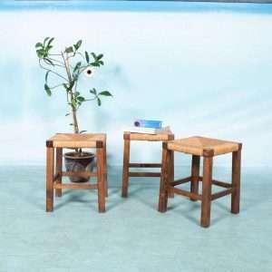 Vintage jaren 50/60 kruk riet, brutalist french stool Bij de Tijd: vintage & designmeubelen