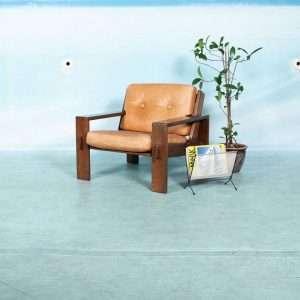 Vintage cognacleren 60s fauteuil, Asko Bonanza brutalist Bij de Tijd: vintage & designmeubelen