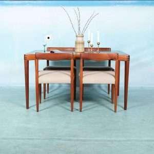 Jaren 60 Deens Design eettafel met stoelen, Bramin Klein Bij de Tijd: vintage & designmeubelen