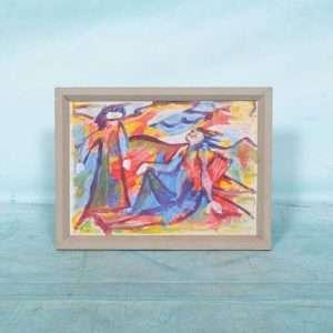 Deense kunst Fahrendorf, schilderij abstract kunstwerk Bij de Tijd: vintage & designmeubelen