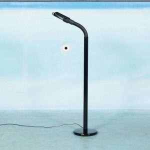 Vintage vloerlamp Targetti, memphis jaren 70 leeslamp zwart Bij de Tijd: vintage & designmeubelen