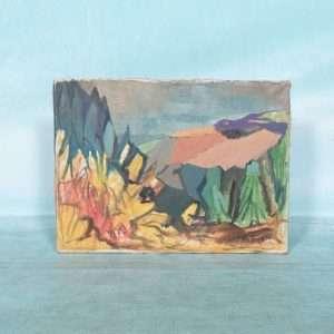 Deens jaren 60 schilderij canvas, berg&dal kleurrijke kunst Bij de Tijd: vintage & designmeubelen