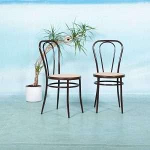 Vintage set bistrostoelen Thonet style, buisframe terras Bij de Tijd: vintage & designmeubelen