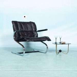 Vintage leren fauteuil buisframe, bauhaus midcentury chair Bij de Tijd: vintage & designmeubelen