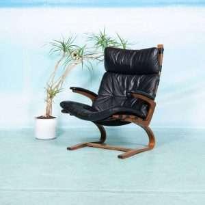 Vintage Noorse relax fauteuil jaren 60, plywood en leer 60s Bij de Tijd: vintage & designmeubelen