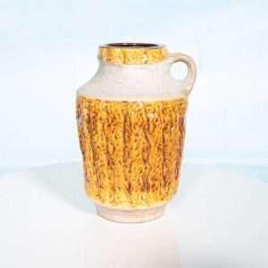 Vintage okergele W-Germany vaas, retro fat lava bloemenvaas Bij de Tijd: vintage & designmeubelen
