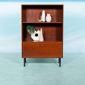 Vintage houten drankenkastje mahoniehout, wandkast messing Bij de Tijd: vintage & designmeubelen