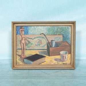 Deens jaren 60 ingelijst schilderij canvas, stilleven Bij de Tijd: vintage & designmeubelen
