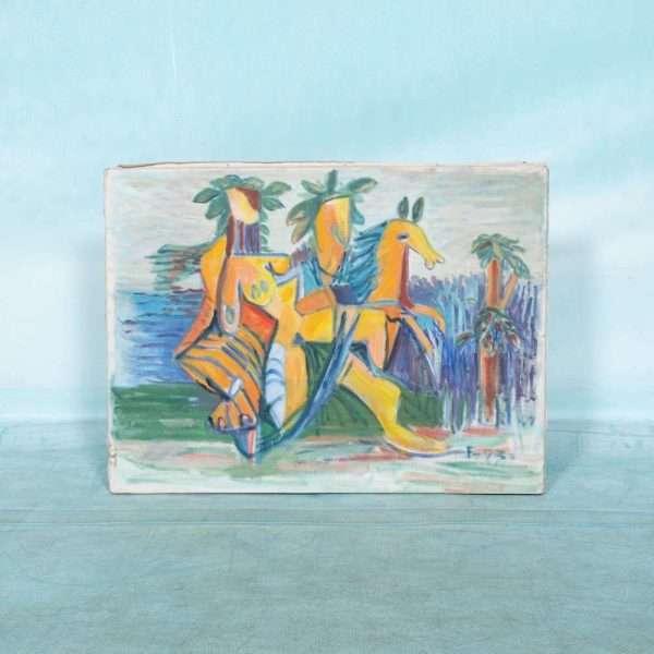 Deens jaren 70 schilderij canvas, abstract paard&figuur Bij de Tijd: vintage & designmeubelen