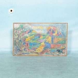 Deens jaren 60 schilderij canvas, kleurrijk berg en dal Bij de Tijd: vintage & designmeubelen