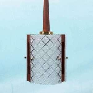 Vintage chique hanglamp jaren 60, teak glas en messing Bij de Tijd: vintage & designmeubelen