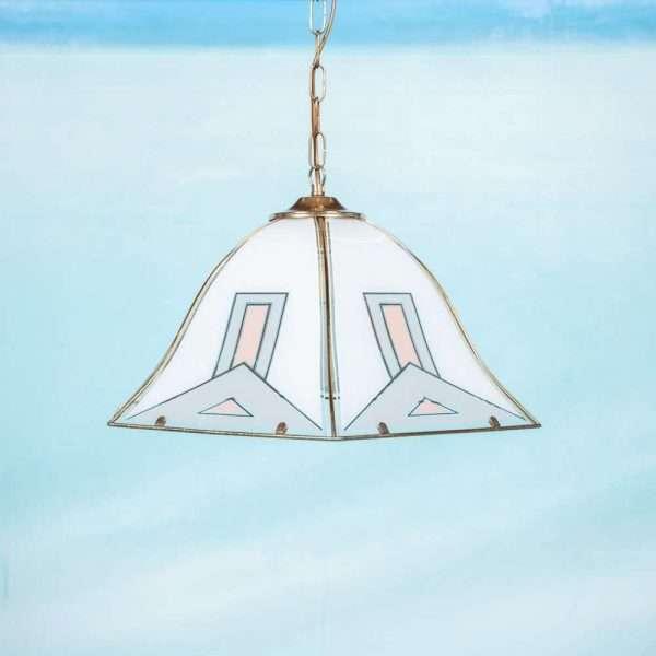 Vintage jaren 70 hanglamp glas en messing, art deco regency Bij de Tijd: vintage & designmeubelen