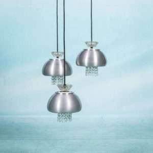 Vintage cascade jaren 60 kroonluchter, hanglamp glas en alu Bij de Tijd: vintage & designmeubelen