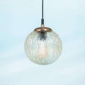 Vintage jaren 60 bollamp messing & glas, bollamp Ribbels Bij de Tijd: vintage & designmeubelen