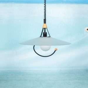 Vintage jaren 70/80 hanglamp verstelbaar, memphis style Bij de Tijd: vintage & designmeubelen